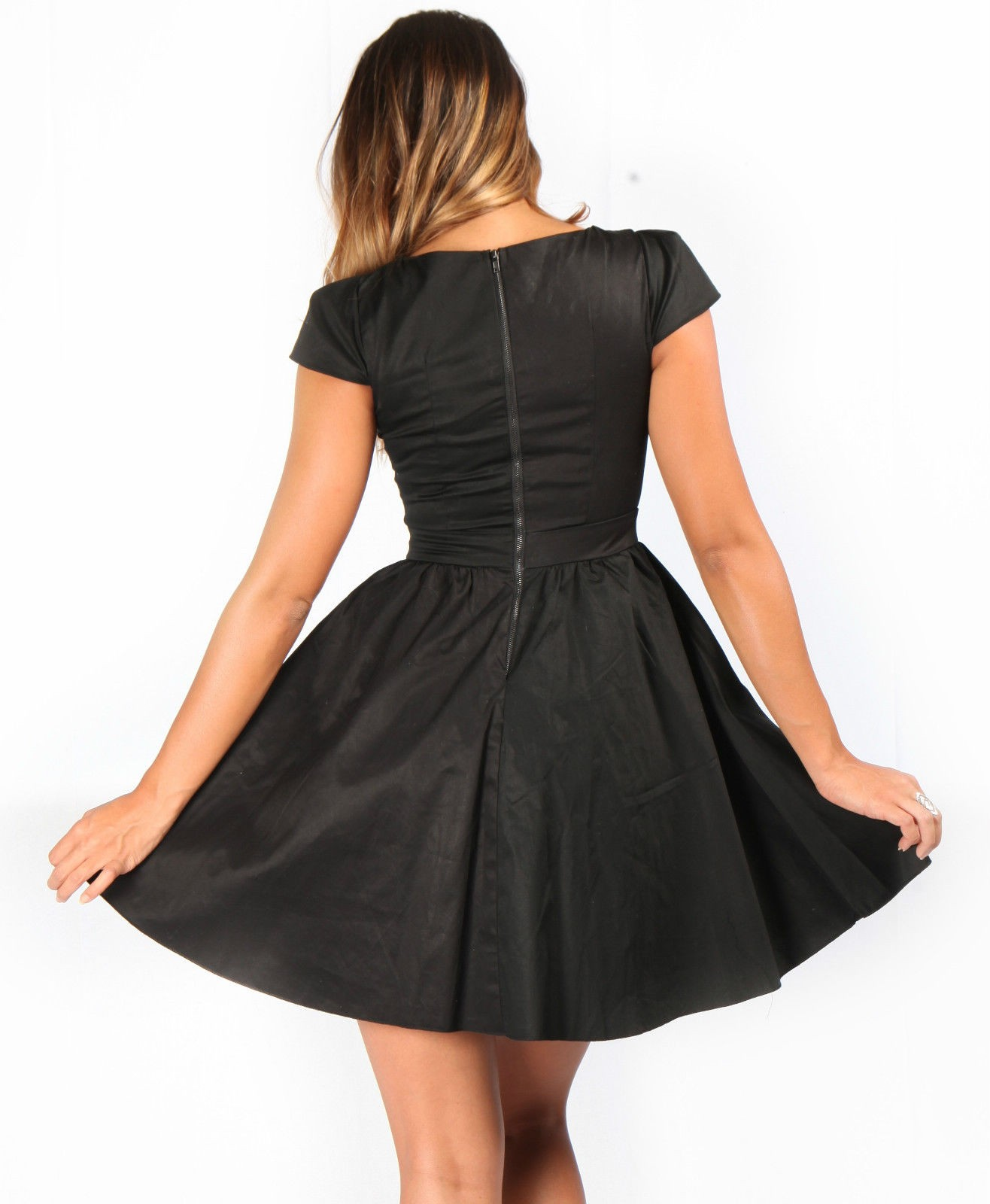 Black Skater Dress Round Neck
