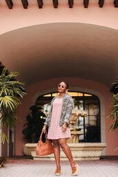 bag,pinksole,blogger,sunglasses,jewels,jacket,dress,shoes,camo jacket,striped dress,wedges