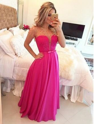 dress prom dress pink dress detail bow dress sparkle dress long prom dress
