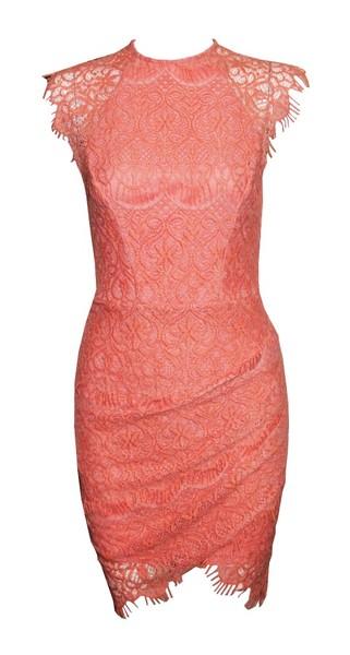 DREAMY LACE DRESS - Orange Red  - Mint & Pink