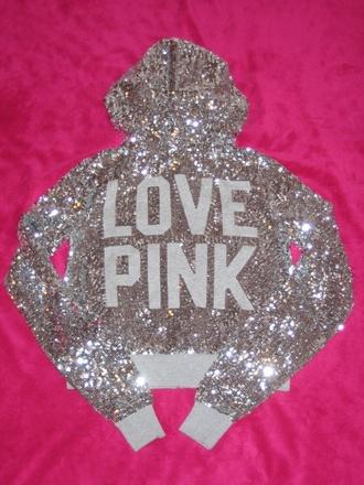 jacket love pink glitter sequins bling victoria's secret pink by victorias secret sequin jacket