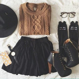 sweater fall sweater skirt socks shoes cute cute socks cute outfits fall outfits felt hat outfit idea outfit