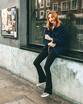 jacket,tumblr,blue jacket,fuzzy jacket,pants,black pants,flare pants,sneakers,vans,fall outfits