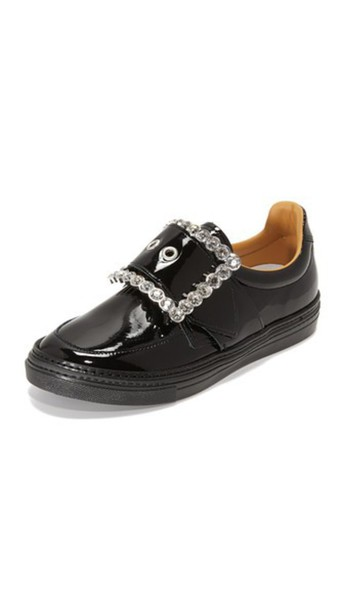 Maison Margiela Patent Leather Sneakers - Black