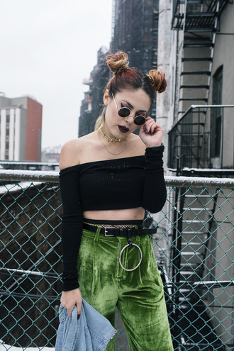 top tumblr black top off the shoulder off the shoulder top black crop top crop tops sunglasses round sunglasses grunge pants green pants velvet velvet pants belt tight tights net tights fishnet tights hairstyles wide-leg velvet pants