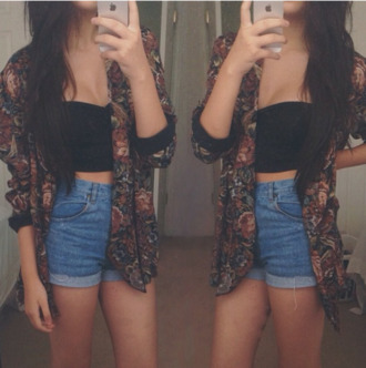 jacket cardigan top shorts black high waisted shorts shirt blazer floral print blazer cute outfits vintage tomboy crop tops tank top floral 70s style hippie indie
