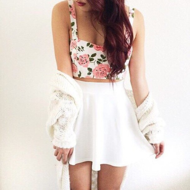 cardigan white cardigan knitted cardigan flowers cute tank top shirt floral floral tank top white skirt skirt top white crop tops white top bustier floral bustier crop tops crop cropped summer top