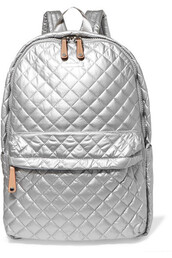 metallic,shell,quilted,backpack,silver,leather,bag