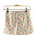 Elastic High Waist Floral Print Cotton Shorts
