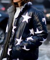 jacket,nyfw 2017,fashion week 2017,fashion week,streetstyle,puffer jacket,stars,black jacket,printed jacket,down jacket