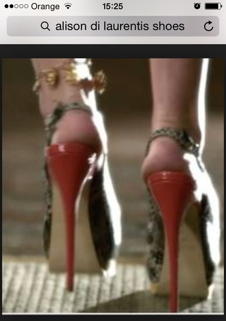 shoes alison di laurentis snake print peep toe heels pretty little liars