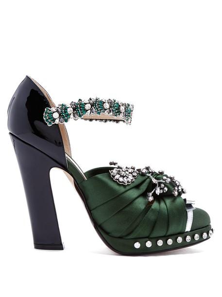 No. 21 embellished pumps leather satin black green shoes