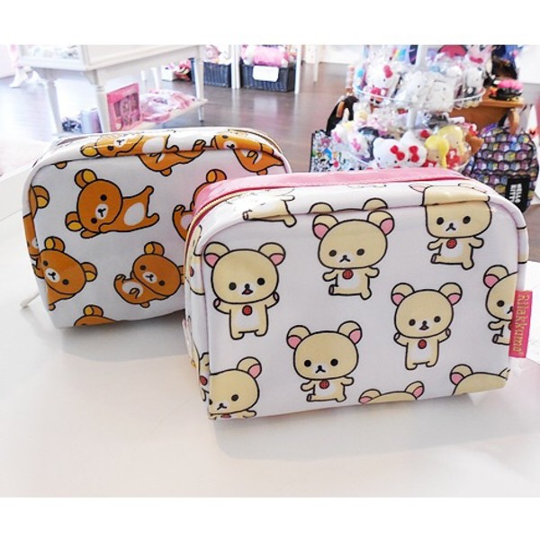 bag cosmetic bag makeup bag rilakkuma cute asian japanese white pencil case small purse korilakkuma