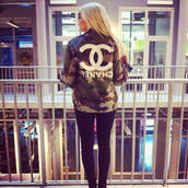 jacket,army green jacket,chanel,chanel inspired,hipster,blonde hair,clothes,camouflage,military style,military jac,bag,alena shishkova,love,buy