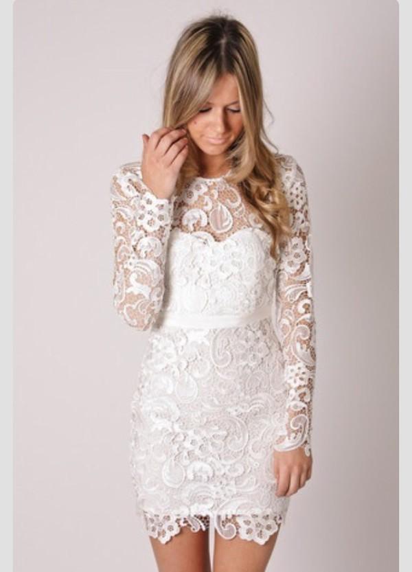 dress lace short long sleeves wedding