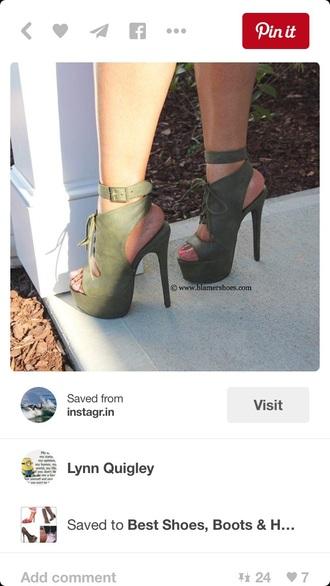shoes high heels cute high heels army green