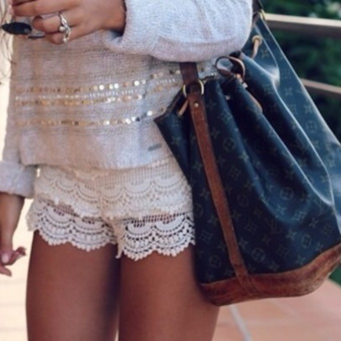 White Sweater Shorts Shorts Bag Blouse Sweater Cute