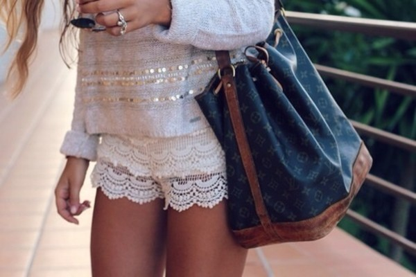 sweater shorts bag blouse white cute short blue brown tote bag shoulder fashion louis vuitton handbag blonde hair flowers gold lace shorts cream beige sequins
