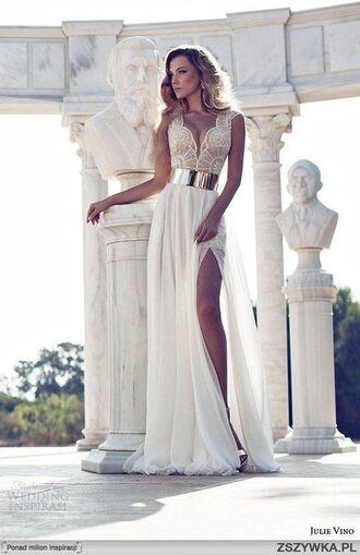 dress evening dress summer dress miss universe belt white slit white dress elegant dress