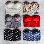 top,crop tops,flowers,polka dots,bustier,bralette,hipster,floral