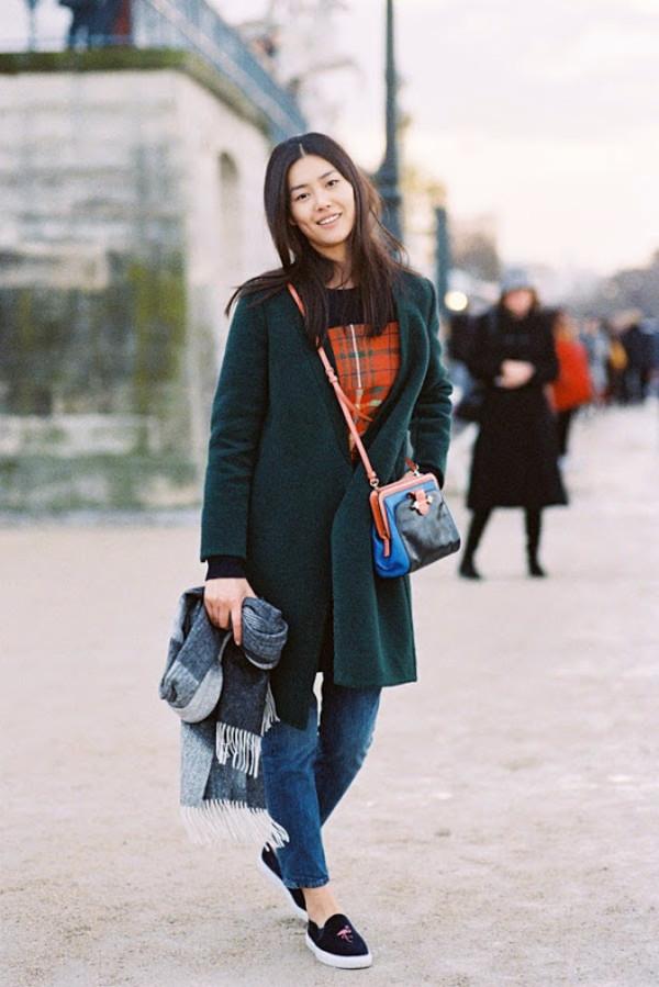 vanessa jackman blogger jeans scarf forest green