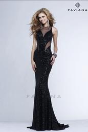 faviana,mesh,black dress,cut-out,black prom dress,long black dress,PLL Ice Ball,dress