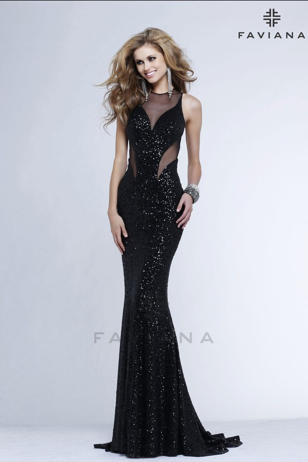 faviana mesh black dress cut-out black prom dress long black dress PLL Ice Ball dress