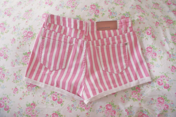 short white flowers shorts stripes rosa striped short