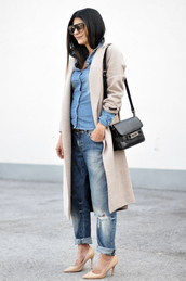 fashion landscape,sunglasses,coat,jeans,shirt,shoes,bag