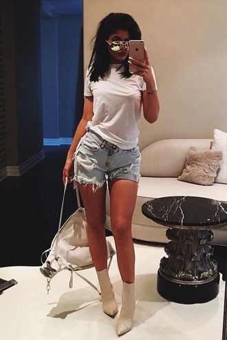 shoes kylie jenner white booties heels