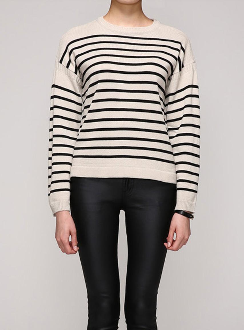 W studio stripe loose color sweater