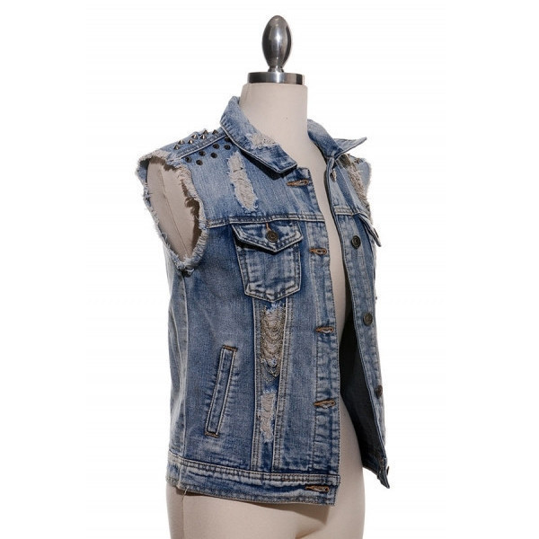 jacket sylvi label denim jacket ripped denim jacket studded spiked chained cutoff denim jacket