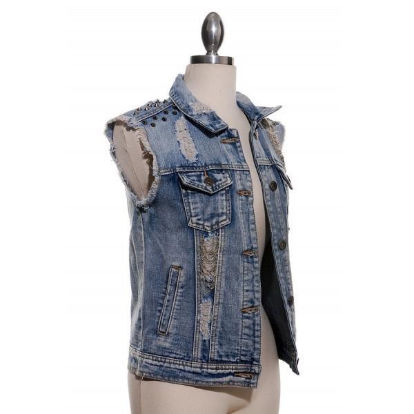 jacket sylvi label denim jacket ripped denim jacket studded spiked chained cutoff denim jacket