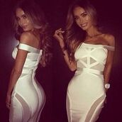 dress,bandage dress,black bandage dress,white bandage dress,see through dress,sexy bandage dress,off the shoulder bandage dress,bodycon dress,black tight dress