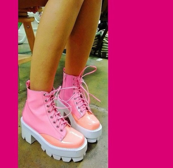 shoes pink platform boots pink platform boots ankle high boots pink, chunky, boots, white, shoes, pretty, girly