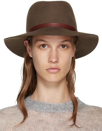 fedora wool brown hat