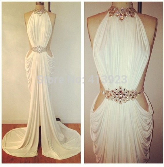 Aliexpress.com : Buy Real Photos Jersey Fabric Handmade Pleat And Backless Halter Evening Dress 2014 from Reliable fabric tablecloth suppliers on Chaozhou City Xin Aojia dress Factory