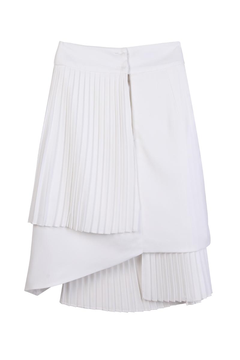 Wrap midi skirt with pleats