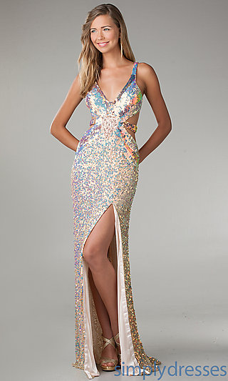 Dress, Floor Length V-Neck Sequin Dress - Simply Dresses