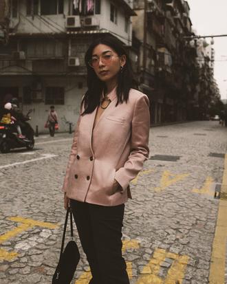shoes honey n silk blogger jacket pants sunglasses bag blazer pink jacket