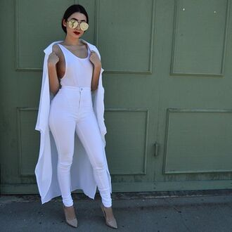 top bodysuit white outfit white top white pants jeans denim trench coat gojane