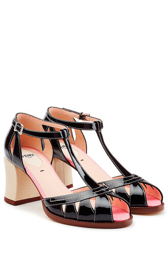 heel sandals leather black shoes