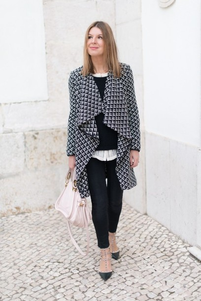 the working girl coat sweater blouse jeans shoes bag jewels