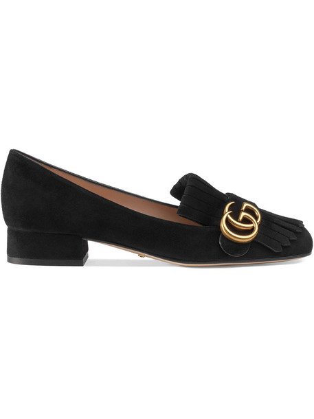 gucci heel women loafers suede black shoes