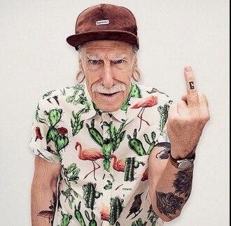 t-shirt cool hipster flamingo cactus hipster menswear shirt mens cap