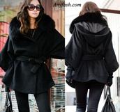 underwear,wool coat,coat,outerwear,outfit,black,fur,bat sleeve,jacket