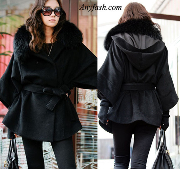 Black Coat With Fur