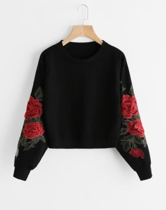 sweater black roses