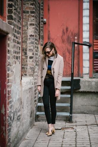 coat tumblr camel camel coat jeans black jeans skinny jeans black skinny jeans belt gucci gucci belt logo belt pumps mid heel pumps nude heels sweater stripes striped sweater sunglasses