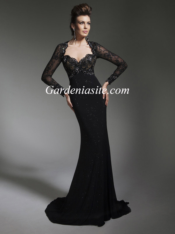 Sheath/Column V-neck Sweep Train Appliques Shiny Sequins Crystals Chiffon Formal Dress 2014 - Gardeniasite